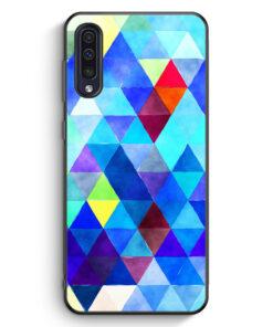 Samsung Galaxy A50 Silikon Hülle - Blaue Dreiecke Wasserfarben