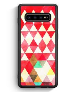 Samsung Galaxy S10e Silikon Hülle - Rote Dreiecke Wasserfarben