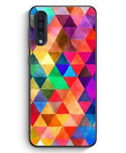 Samsung Galaxy A50 Silikon Hülle - Bunte Dreiecke Wasserfarben