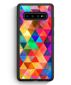 Samsung Galaxy S10 Silikon Hülle - Bunte Dreiecke Wasserfarben