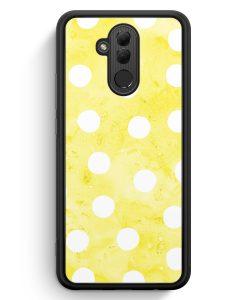 Huawei Mate 20 Lite Silikon Hülle - Gelb Weiße Punkte Muster