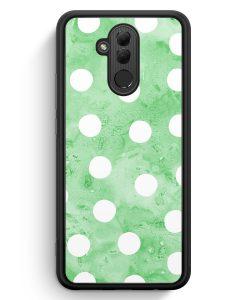Huawei Mate 20 Lite Silikon Hülle - Grün Weiße Punkte Muster