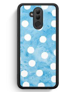 Huawei Mate 20 Lite Silikon Hülle - Blau Weiße Punkte Muster