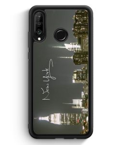 Huawei P30 Lite Silikon Hülle - New York City Schriftzug Skyline