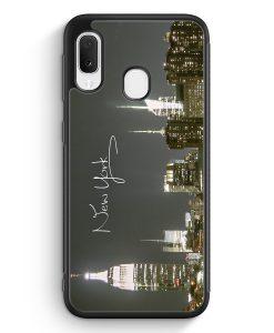 Samsung Galaxy A20e Silikon Hülle - New York City Schriftzug Skyline