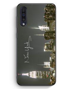 Samsung Galaxy A50 Silikon Hülle - New York City Schriftzug Skyline