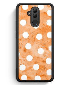 Huawei Mate 20 Lite Silikon Hülle - Orange Weiße Punkte Muster