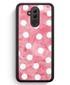 Huawei Mate 20 Lite Silikon Hülle - Rosa Weiße Punkte Muster