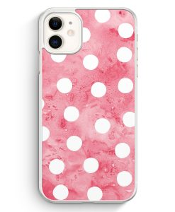 iPhone 11 Hardcase Hülle - Rosa Weiße Punkte Muster