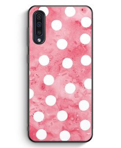 Samsung Galaxy A50 Silikon Hülle - Rosa Weiße Punkte Muster