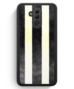 Huawei Mate 20 Lite Silikon Hülle - Schwarz Weiße Streifen