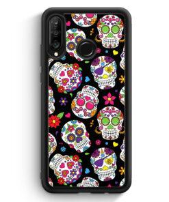 Huawei P30 Lite Silikon Hülle - Totenkopf Blumen Muster BK