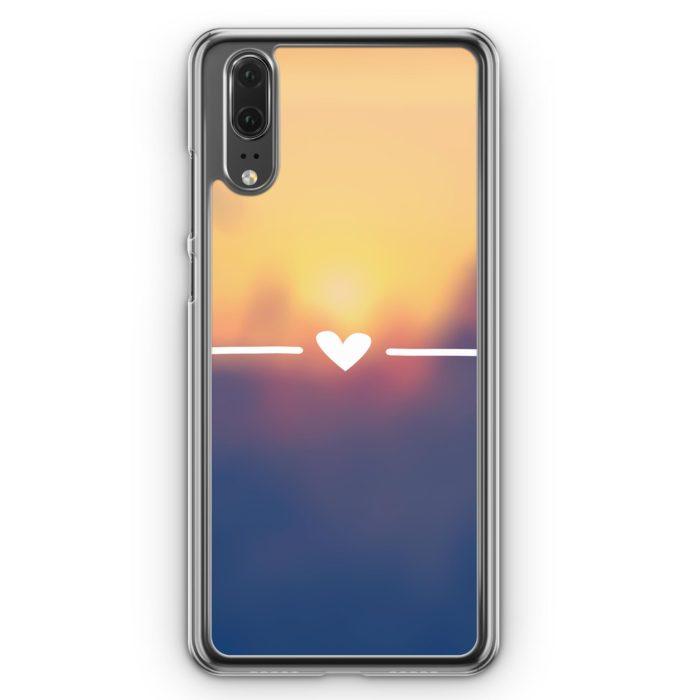 Huawei P20 Hülle Hardcase - Herz Sonnenuntergang Liebe