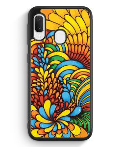 Samsung Galaxy A20e Silikon Hülle - Blumen Muster Bunt