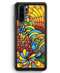 Huawei P30 Pro Silikon Hülle - Blumen Muster Bunt