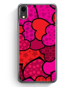 iPhone XR Hardcase Hülle - Pinke & Rote Herzen Muster