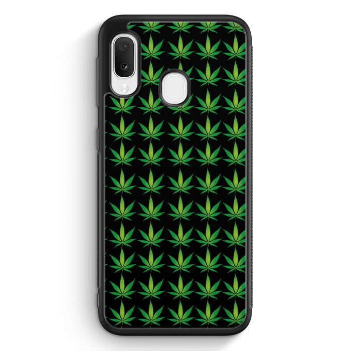 Samsung Galaxy A20e Silikon Hülle - Weed Gras Marihuana Muster Schwarz