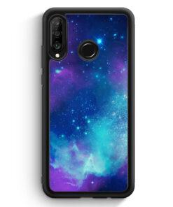 Huawei P30 Lite Silikon Hülle - Galaxy Universe Nebula Blau-Lila