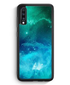 Samsung Galaxy A40 Silikon Hülle - Galaxy Universe Nebula Blau-Grün
