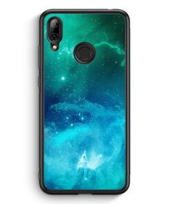 Huawei Y7 (2019) Silikon Hülle - Galaxy Universe Nebula Blau-Grün