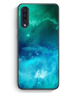 Samsung Galaxy A50 Silikon Hülle - Galaxy Universe Nebula Blau-Grün