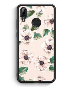 Huawei Y7 (2019) Silikon Hülle - Rosa Blumen Muster