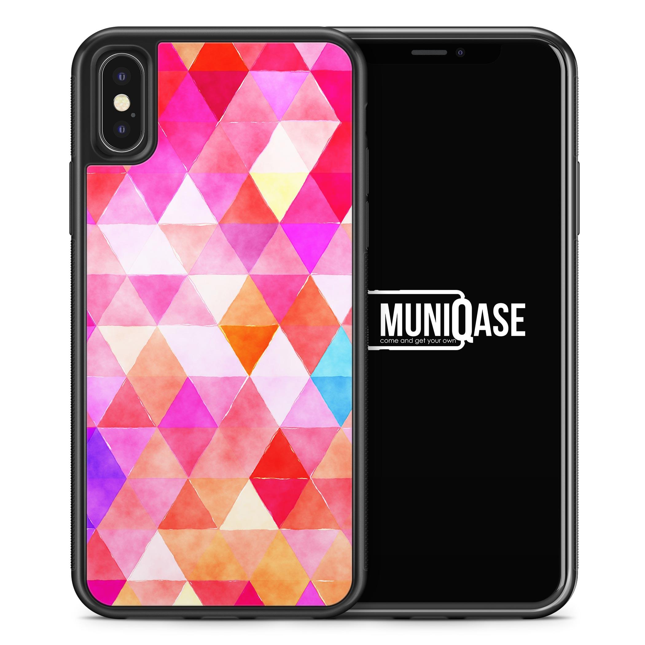 iPhone X Hülle SILIKON - Pinke Dreiecke Wasserfarben