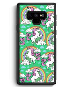 Samsung Galaxy Note 9 Hülle Silikon - Einhorn Muster Minze