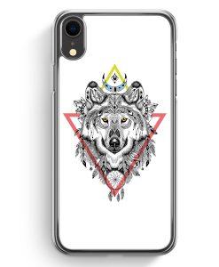 iPhone XR Hardcase Hülle - Aztek Wolf Bunt