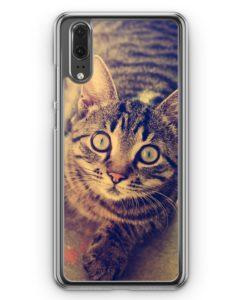 Huawei P20 Hülle Hardcase - Schockierte Katze Foto