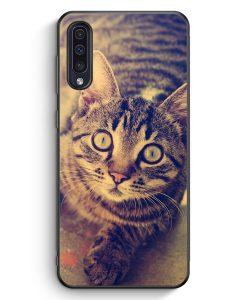 Samsung Galaxy A50 Silikon Hülle - Schockierte Katze Foto