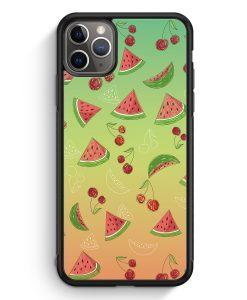 iPhone 11 Pro Max Silikon Hülle - Wassermelonen Kirsche Muster