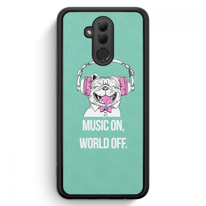 Huawei Mate 20 Lite Silikon Hülle - Mops - Music On - World Off