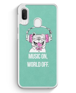Samsung Galaxy A20e Hardcase Hülle - Mops - Music On - World Off