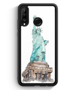 Huawei P30 Lite Silikon Hülle - Freiheitsstatue New York