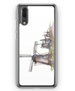 Huawei P20 Hülle Hardcase - Windmühlen Kinderdijk
