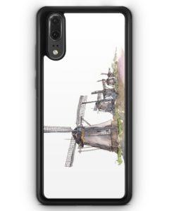 Huawei P20 Hülle Silikon - Windmühlen Kinderdijk