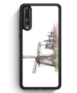 Huawei P20 Pro Hülle Silikon - Windmühlen Kinderdijk