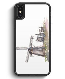 iPhone X & iPhone XS Silikon Hülle - Windmühlen Kinderdijk