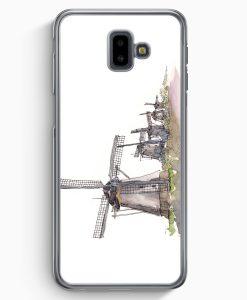 Samsung Galaxy J6+ Plus (2018) Hardcase Hülle - Windmühlen Kinderdijk