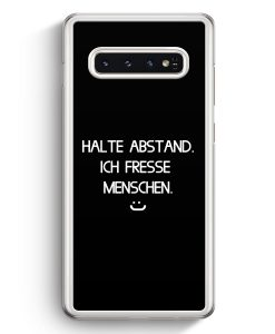 Samsung Galaxy S10+ Plus Hardcase Hülle - Halte Abstand Ich Fresse Menschen :) BK