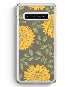 Samsung Galaxy S10+ Plus Hardcase Hülle - Sonnenblumen Muster