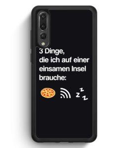 Huawei P20 Pro Hülle Silikon - 3 Dinge Einsame Insel: Pizza Wlan Schlaf