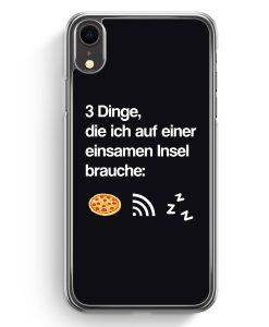 iPhone XR Hardcase Hülle - 3 Dinge Einsame Insel: Pizza Wlan Schlaf