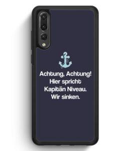 Huawei P20 Pro Hülle Silikon - Achtung Hier Spricht Kapitän Niveau Grau