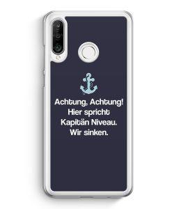 Huawei P30 Lite Hardcase Hülle - Achtung Hier Spricht Kapitän Niveau Grau