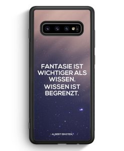 Samsung Galaxy S10 Silikon Hülle - Fantasie ist Wichtiger als Wissen Albert Einstein Zitat