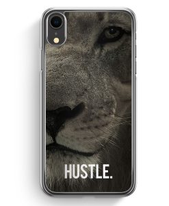 iPhone XR Hardcase Hülle - Hustle. Löwe Motivation