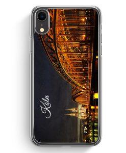 iPhone XR Hardcase Hülle - Köln Schriftzug Skyline Foto