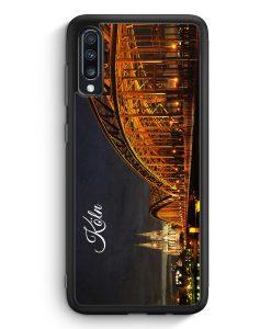 Samsung Galaxy A40 Silikon Hülle - Köln Schriftzug Skyline Foto